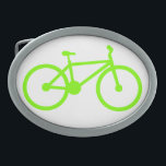 "Chartreuse, Neon Green Bicycle Oval Belt Buckle<br><div class=""desc"">Cool,  cute,   Chartreuse,  Neon Green bicycle,  cycling design.  Support enviorment friendly means of transportation!  Great gift for cyclers,  bikers,  or bike racers! Images used on this item are licensed and &#169; Graphics Factory.com</div>"