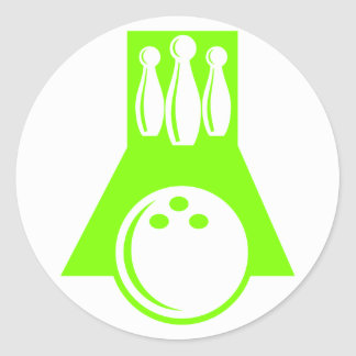 Chartreuse, Neon Green Bowling Classic Round Sticker