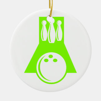 Chartreuse, Neon Green Bowling Christmas Tree Ornaments