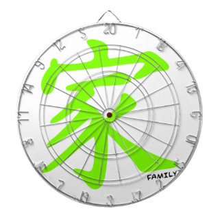 Chartreuse, Neon Green Chinese Family Symbol Dartboards