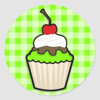 Chartreuse, Neon Green Cupcake Classic Round Sticker