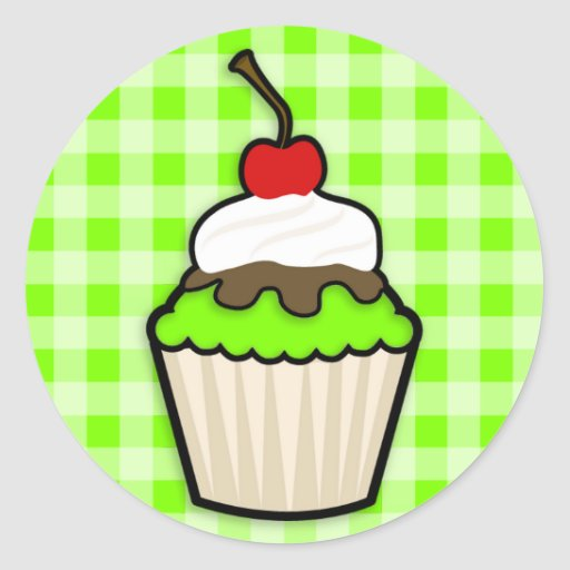 Chartreuse, Neon Green Cupcake Round Stickers