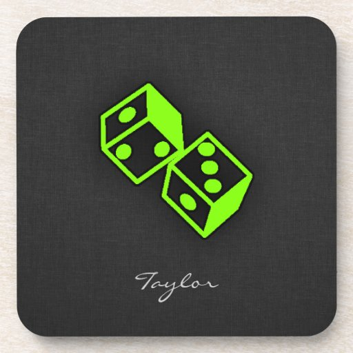Chartreuse, Neon Green Dice Beverage Coasters