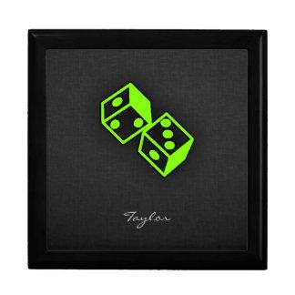 Chartreuse, Neon Green Dice Jewelry Box