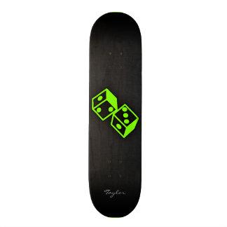 Chartreuse, Neon Green Dice Skateboard Deck
