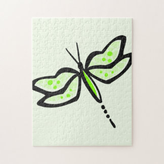 Chartreuse, Neon Green Dragonfly Puzzles