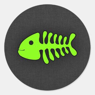 Chartreuse, Neon Green Fish Bones Classic Round Sticker