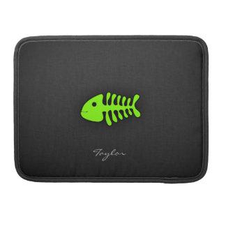 Chartreuse, Neon Green Fish Bones Sleeves For MacBooks