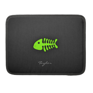 Chartreuse, Neon Green Fish Bones Sleeve For MacBooks