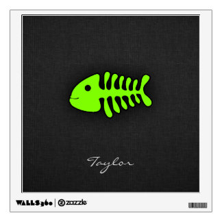 Chartreuse, Neon Green Fish Bones Wall Sticker