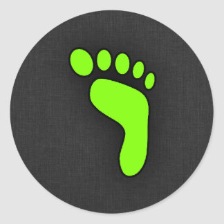 Chartreuse, Neon Green Footprint Classic Round Sticker