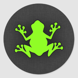 Chartreuse Neon Green Frog Round Stickers