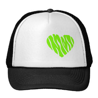 Chartreuse, Neon Green Heart Trucker Hat