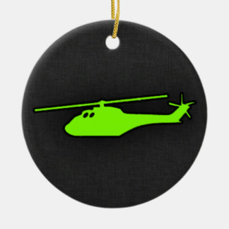 Chartreuse, Neon Green Helicopter Double-Sided Ceramic Round Christmas Ornament