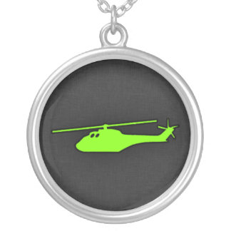 Chartreuse, Neon Green Helicopter Round Pendant Necklace