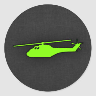 Chartreuse, Neon Green Helicopter Round Sticker