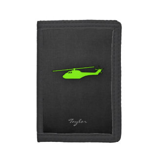 Chartreuse, Neon Green Helicopter Trifold Wallet