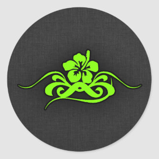 Chartreuse, Neon Green Hibiscus Classic Round Sticker