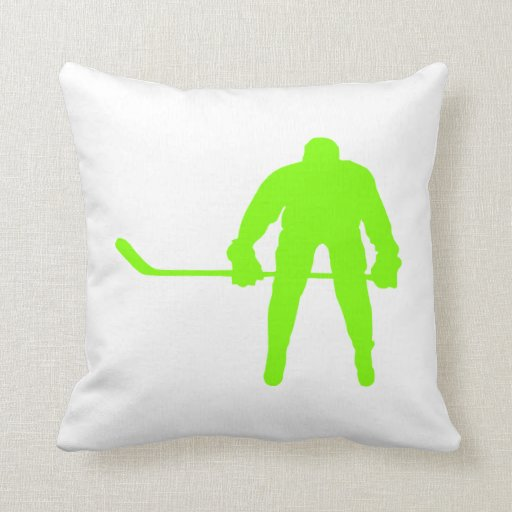 Neon Blue Throw Pillows : Chartreuse, Neon Green Hockey Throw Pillow Zazzle