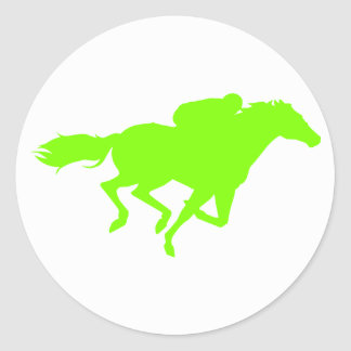 Chartreuse, Neon Green Horse Racing Classic Round Sticker