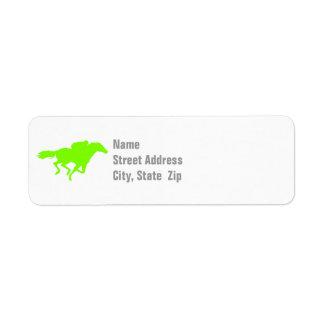 Chartreuse, Neon Green Horse Racing Return Address Label