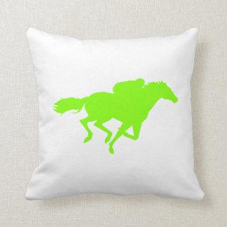 Chartreuse, Neon Green Horse Racing Throw Pillow
