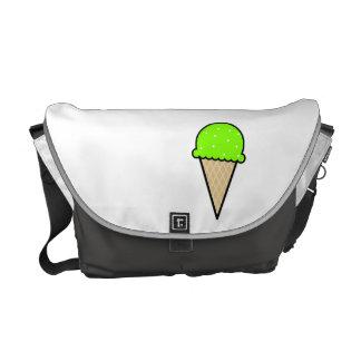 Chartreuse, Neon Green Ice Cream Cone Messenger Bag