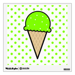 Chartreuse, Neon Green Ice Cream Cone Wall Sticker