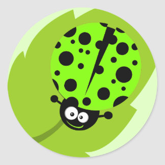Chartreuse, Neon Green Ladybug Classic Round Sticker