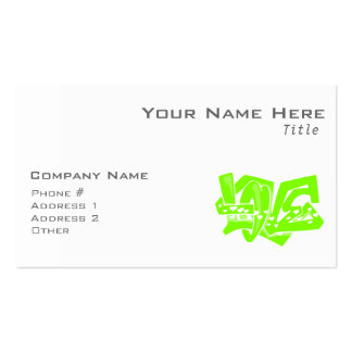Chartreuse, Neon Green Love Graffiti Double-Sided Standard Business Cards (Pack Of 100)