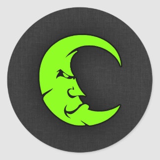 Chartreuse, Neon Green Moon Classic Round Sticker