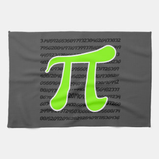 Chartreuse, Neon Green Pi symbol Kitchen Towel