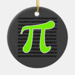 Chartreuse, Neon Green Pi symbol Christmas Tree Ornaments
