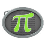 Chartreuse, Neon Green Pi symbol Oval Belt Buckle