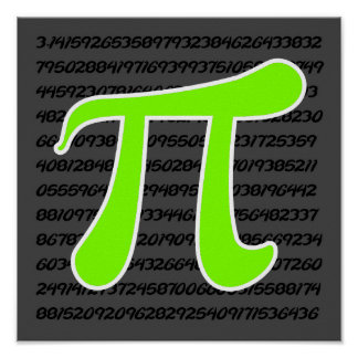 Chartreuse Neon Green Pi symbol Poster