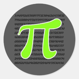 Chartreuse, Neon Green Pi symbol Classic Round Sticker