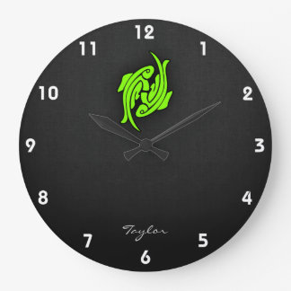 Chartreuse, Neon Green Pisces Large Clock