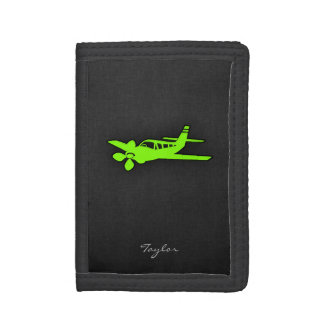 Chartreuse, Neon Green Plane Tri-fold Wallet