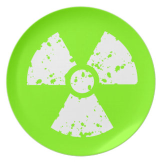 Chartreuse, Neon Green Radioactive Symbol Dinner Plates
