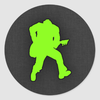 Chartreuse, Neon Green Rocker Classic Round Sticker