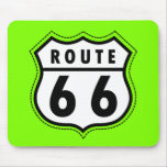 Chartreuse, Neon Green Route 66 road sign Mouse Pad