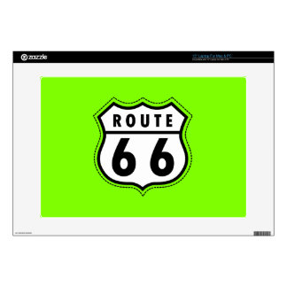 Chartreuse Neon Green Route 66 road sign Skins For Laptops