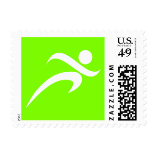 Chartreuse, Neon Green Running Stamp