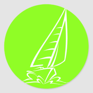 Chartreuse, Neon Green Sailing Classic Round Sticker