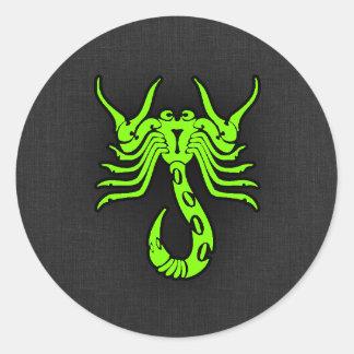 Chartreuse, Neon Green Scorpion Classic Round Sticker