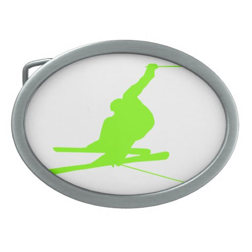Chartreuse, Neon Green Snow Skiing Oval Belt Buckles