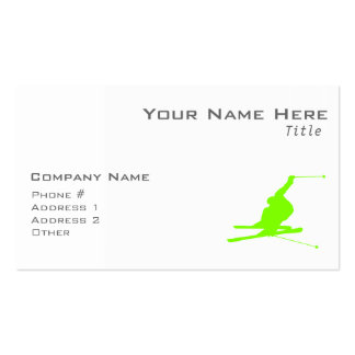 Chartreuse, Neon Green Snow Skiing Double-Sided Standard Business Cards (Pack Of 100)