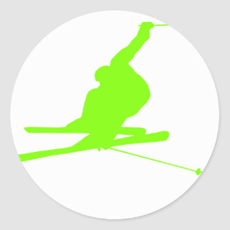 Chartreuse, Neon Green Snow Skiing Classic Round Sticker