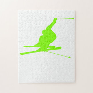 Chartreuse, Neon Green Snow Skiing Jigsaw Puzzle