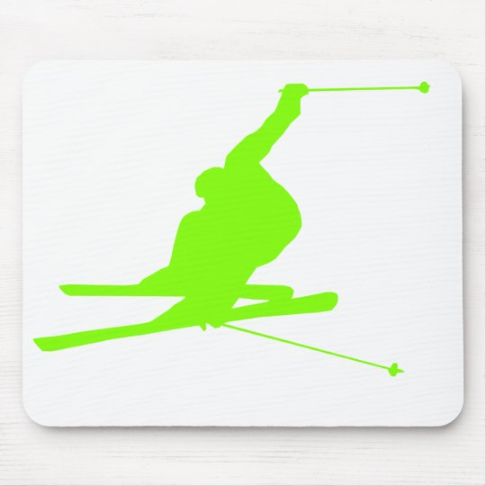 Chartreuse, Neon Green Snow Skiing Mouse Pad